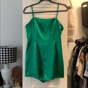 Urban Outfitters green satin romper